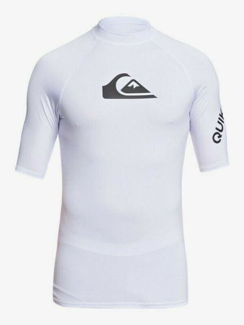 QUIKSILVER MENS RASH VEST.NEW ALL TIME WHITE UPF50+ GUARD SHORT SLEEVE TOP S20